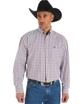 Wrangler George Strait Men's Chestnut/White Poplin Plaid Button Shirt - Big & Tall, Tan, hi-res