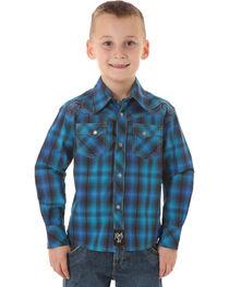 Wrangler Rock 47 Boys' Blue & Black Plaid Snap Shirt, , hi-res