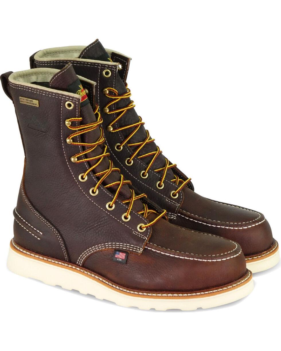 """Thorogood Men's Brown American Heritage 8"""" Waterproof Work Boots - Round Toe , Brown, hi-res"""