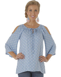 Wrangler Women's Tyler Twill Cold Shoulder Printed Top, , hi-res