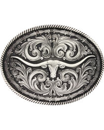 Montana Silversmiths Long Horn Attitude Belt Buckle, , hi-res