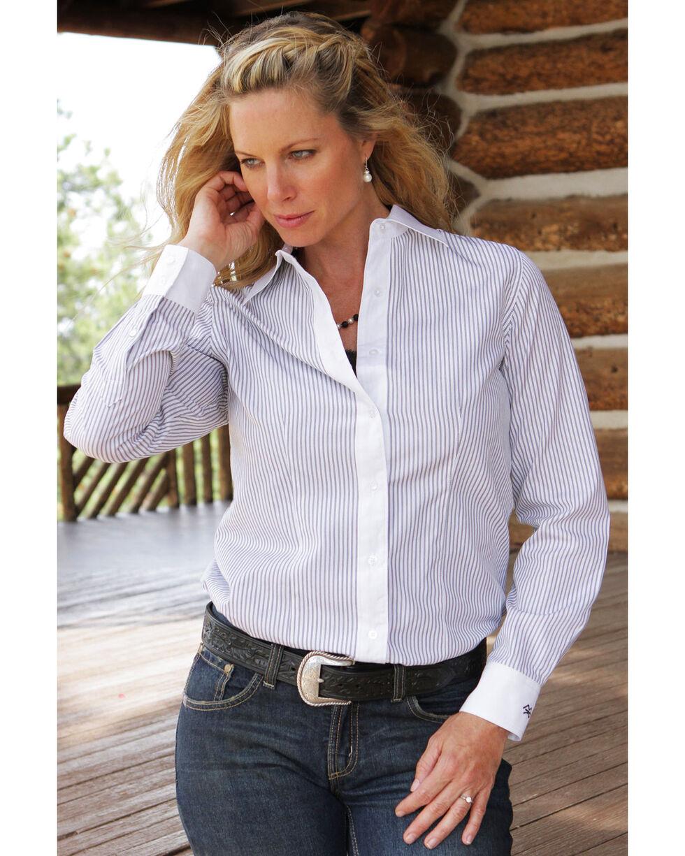 Miller Ranch Women's Black & White Stripe Dress Shirt, White, hi-res