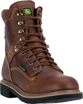 "John Deere Men's Waterproof 8"" Lace Up Boots - Steel Toe , Brown, hi-res"