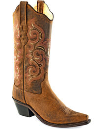 Old West Women's Distressed Brown Western Boots - Snip Toe  , , hi-res