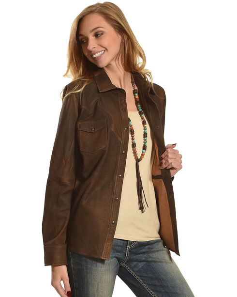 Ryan Michael Women's Chestnut Santa Fe Leather Shirt, Brown, hi-res