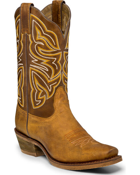 "Nocona Women's 11"" Embroidered Western Boots, Tan, hi-res"