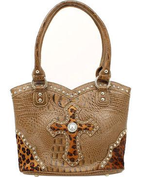Blazin Roxx Leopard Print Cross Bucket Bag, Brown, hi-res