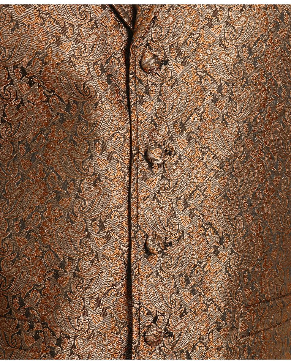 Rangewear by Scully Men's Notched Lapel Paisley Print Vest, Brown, hi-res