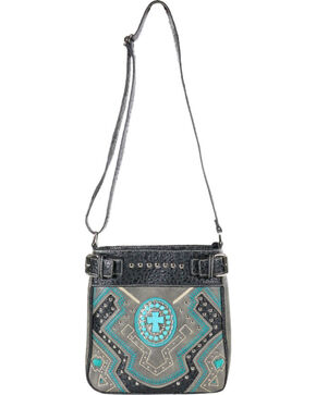 Savana Women's Steel Concho Cross Messenger Bag, Steel, hi-res