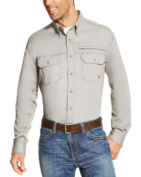 Ariat Men's Silver Flame Resistant Long Sleeve Work Shirt - Big and Tall , Silver, hi-res