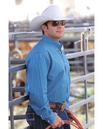 Cinch Men's Teal Long Sleeve Classic Fit Plain Weave Print Button Shirt, , hi-res