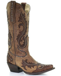 Corral Women's Studded Overlay Western Boots, , hi-res