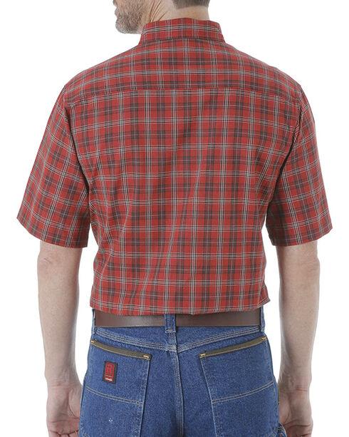 Wrangler Men's Rustic Plaid Short Sleeve Shirt, Wine, hi-res