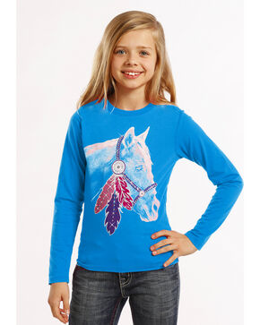 Rock & Roll Cowgirl Girls' White Horse Rhinestone Tee, Blue, hi-res