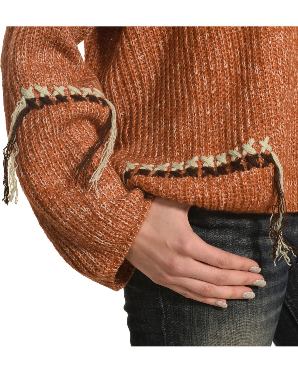 Mystree Women's Contrast Stitch Cowl Neck Sweater, Rust Copper, hi-res