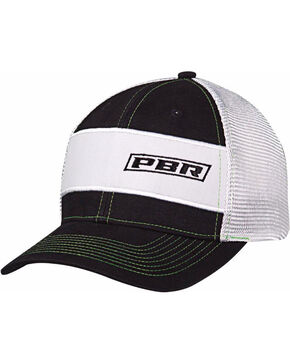 PBR Men's Black and White Text Logo Baseball Cap, Black, hi-res