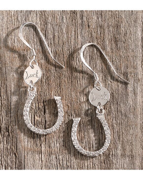 Montana Silversmiths Women's Silver Lucky Horseshoe Earrings , Silver, hi-res