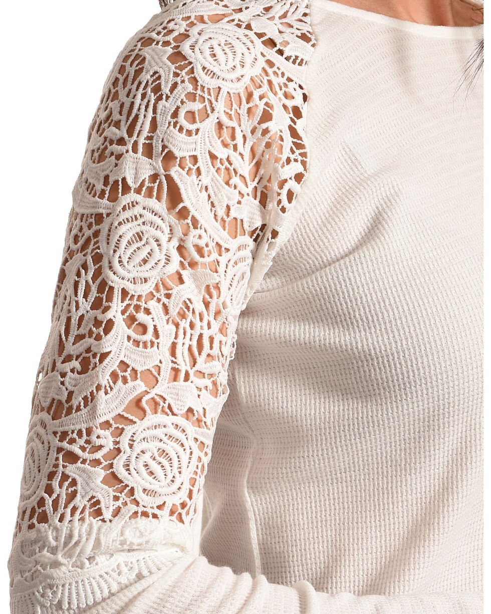 Cowgirl Up Women's Lace Shoulders Long Sleeve Top, White, hi-res