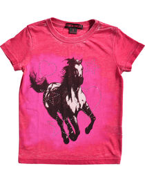Rock & Roll Cowgirl Girls' Pink Running Horse Tee , , hi-res