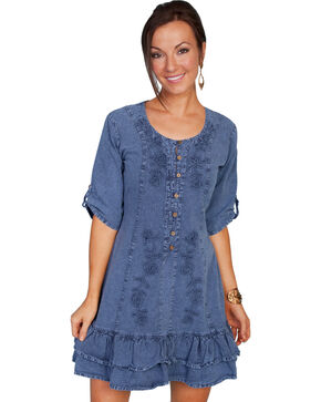 Scully Women's 3/4 Sleeve Dress, Dark Blue, hi-res