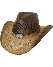 Bullhide Women's Never Give Up Straw Hat, , hi-res