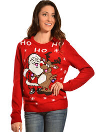 Lisa International Santa & Reindeer Light-Up Christmas Sweater, , hi-res