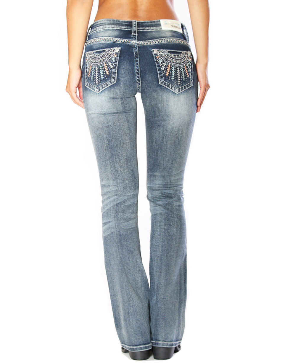Grace in LA Women's Ray Embroidered Boot Cut Jeans - Plus , Indigo, hi-res