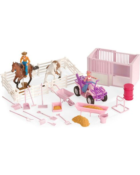 Stall & Four-Wheeler Stable Toy Set, Pink, hi-res