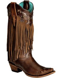 Corral Women's Fringe and Stud Snip Toe Western Boots, , hi-res