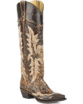 Stetson Women's Sadie Brown Goat Side Zip Western Boots - Snip Toe, Brown, hi-res