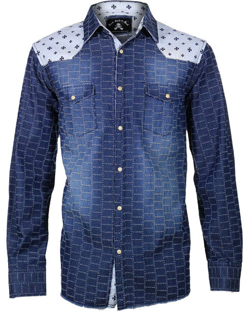 Rock Roll n Soul Men's Star Bombers Long Sleeve Shirt, Navy, hi-res