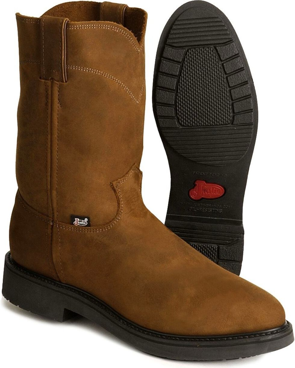 Justin Men's Boots Pull-On Boots, Brown, hi-res