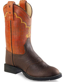 Old West Boys' Brown and Orange Western Boots - Round Toe , , hi-res