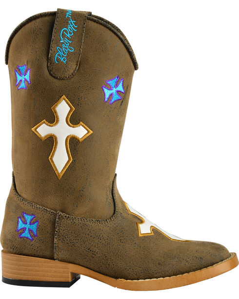 Blazin Roxx Youth Sierra Cowgirl Boots - Square Toe, Brown, hi-res