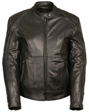 Milwaukee Leather Women's Stud & Wing Leather Jacket - 4XL, Black, hi-res