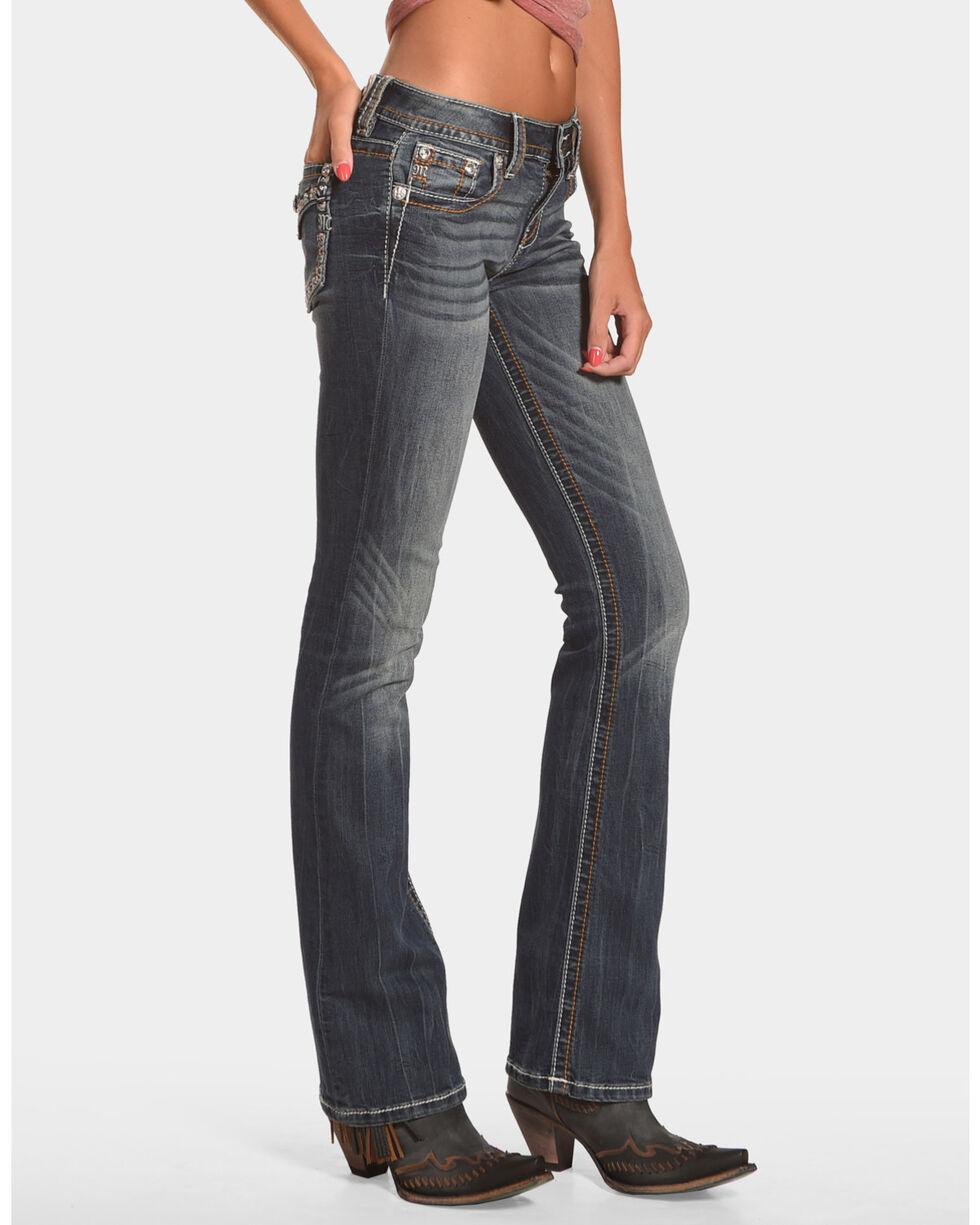 Miss Me Women's Faux Flap Pocket Boot Cut Jeans, Blue, hi-res