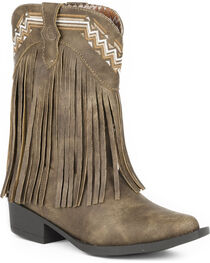 Roper Girls' Brown Fringed Western Boots - Pointed Toe , , hi-res