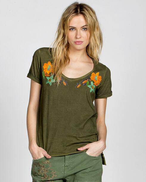 MM Vintage Olive Floral Affair Embroidered Shirt, Olive, hi-res