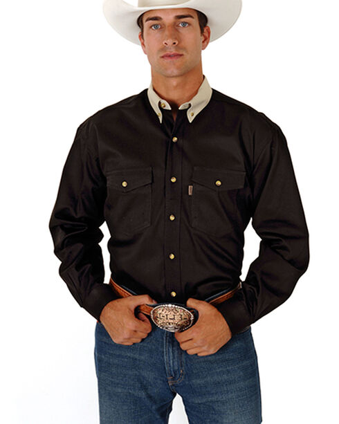 Roper Contrast Collar Twill Shirt, Black, hi-res