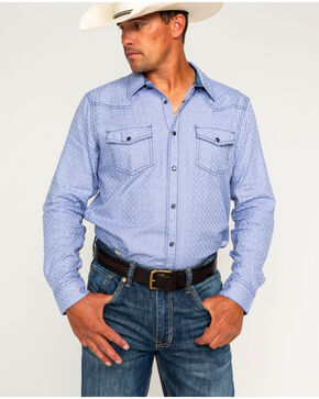 Cody James Men's Giddings Basketweave Long Sleeve Western Snap Shirt, Light Blue, hi-res