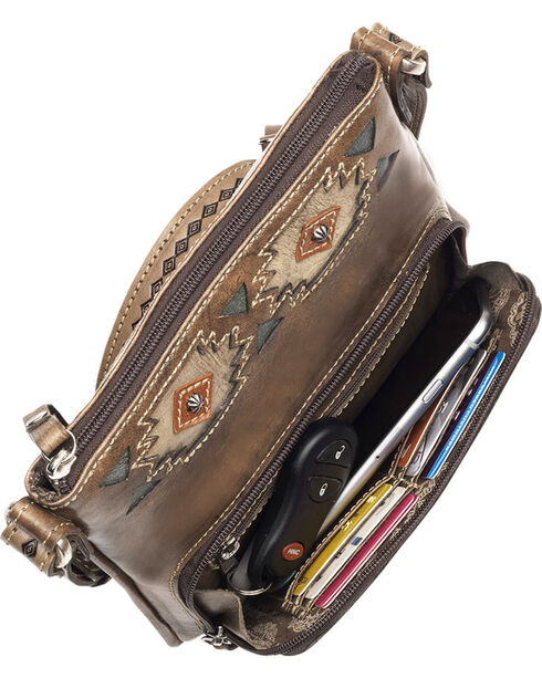 American West Women's Native Sun Crossbody Bag/Wallet, Brown, hi-res