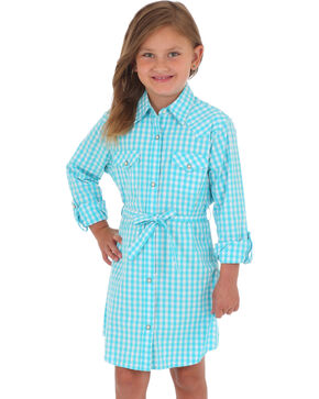 Wrangler Girls' Turquoise Gingham Plaid Dress , Turquoise, hi-res