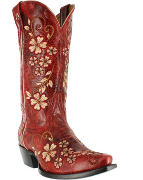 """Shyanne® Women's 12"""" Embroidered Clover Flower Western Boots, Red, hi-res"""
