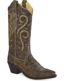 Old West Women's Distressed Scroll Western Cowgirl Boots - Snip Toe, , hi-res