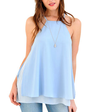 HYFVE Women's Pastel Cutout Tank, Light/pastel Blue, hi-res