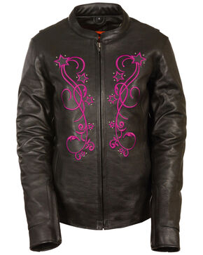 Milwaukee Leather Women's Reflective Star Jacket - 5X, Pink/black, hi-res