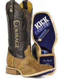 Tin Haul Men's Courage Kick Cancer Sole Cowboy Boots - Square Toe, , hi-res