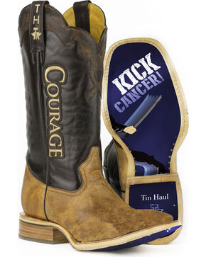 Tin Haul Men's Courage Kick Cancer Sole Cowboy Boots - Square Toe, Brown, hi-res