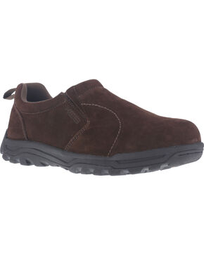 Rockport Men's Nice Ride Slip-On Shoes - Steel Toe , Brown, hi-res