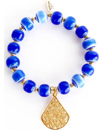 Everlasting Joy Jewelry Women's Blue Tile Gold Dangle Bracelet , , hi-res
